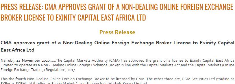 FXTM Kenya CMA Regulation